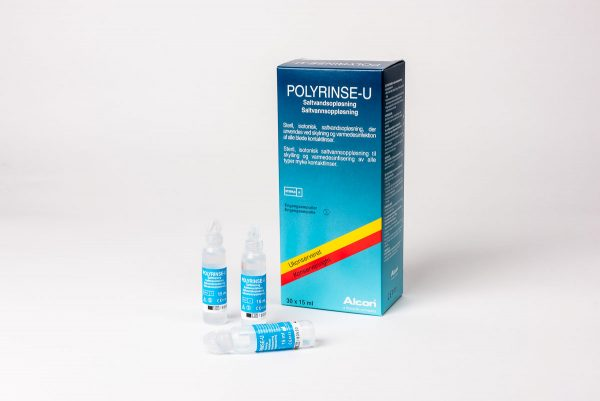 Polyrinse-U, engångsförpackningar (30 x 15 ml ) med koksaltlösning utan konserveringsmedel för sköljning av mjuka kontaktlinser eller irriterade ögon.