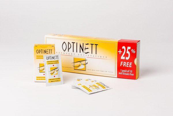 Optinett våtservetter för en enkel rengöring av dina solglasögon och glasögon.