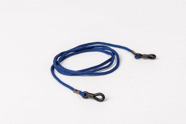 Glasögonsnöre/senilsnöre i blå textil.