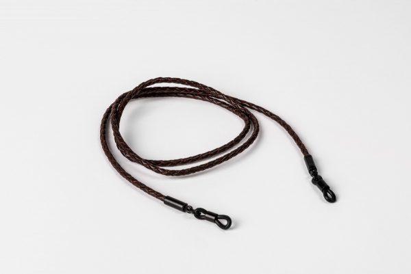 Glasögonsnöre/Senilsnöre i brunt flätat läder